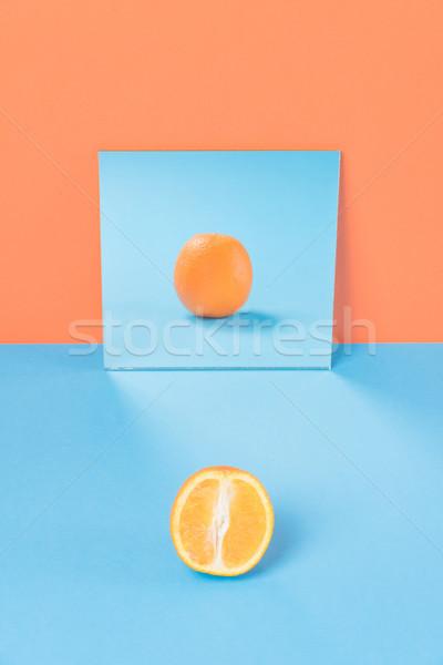 Oranje Blauw tabel geïsoleerd foto natuur Stockfoto © deandrobot