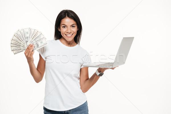 Portret gelukkig aantrekkelijke vrouw laptop computer bos Stockfoto © deandrobot