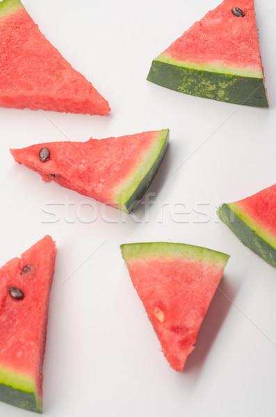 Parçalar karpuz beyaz farklı üçgen kırmızı Stok fotoğraf © deandrobot