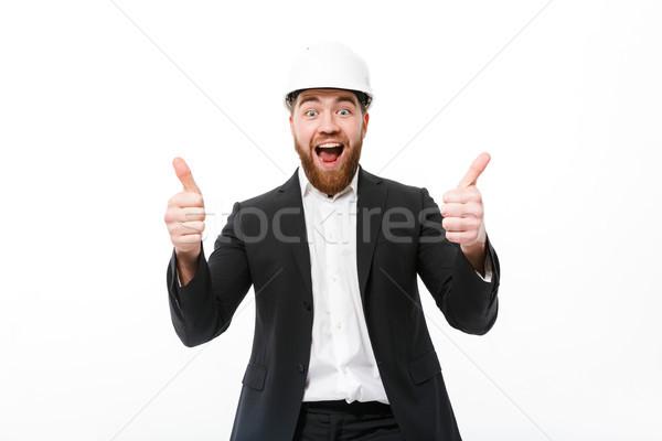 Barbuto uomo d'affari casco Foto d'archivio © deandrobot