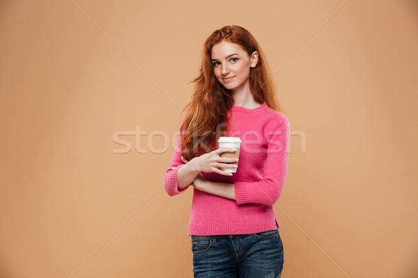 肖像 幸せ かなり 赤毛 少女 ストックフォト © deandrobot