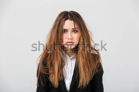 Portré kimerült üzletasszony öltöny rendetlen haj Stock fotó © deandrobot
