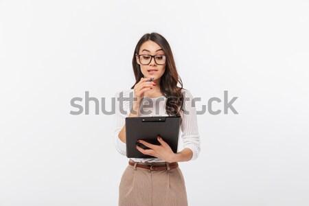 Ritratto soddisfatto casuale asian donna Foto d'archivio © deandrobot