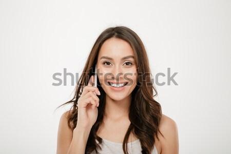 Retrato sorridente bonitinho mulher Foto stock © deandrobot