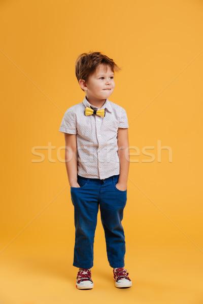 Koncentrált kicsi fiú gyermek áll izolált Stock fotó © deandrobot