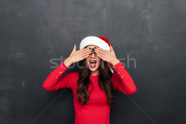 Komik esmer kadın kırmızı bluz Noel Stok fotoğraf © deandrobot