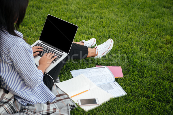 Cropped view of female student typing on laptop, sitting on gras Stock photo © deandrobot