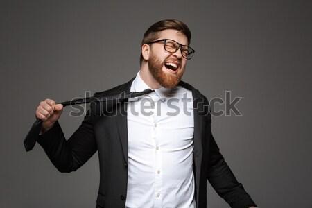 Portret mad młodych biznesmen garnitur odizolowany Zdjęcia stock © deandrobot