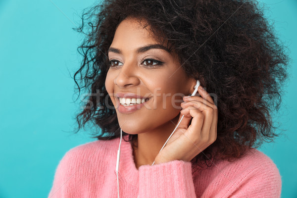 Afro-amerikaanse blij vrouw luisteren luisteren naar muziek Stockfoto © deandrobot