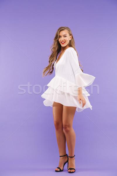 Portret charmant vrouw 20s lang Stockfoto © deandrobot