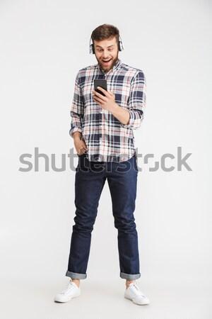 Feliz homem mão aperto de mão retrato Foto stock © deandrobot