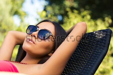 女性 日光浴 デッキチェア 肖像 魅力のある女性 屋外 ストックフォト © deandrobot