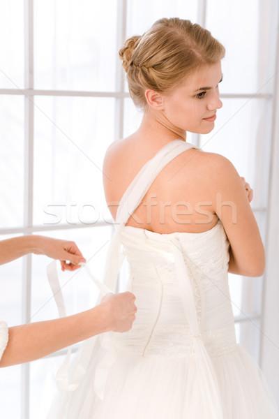 Menyasszony fehér esküvői ruha gyönyörű lány szeretet Stock fotó © deandrobot