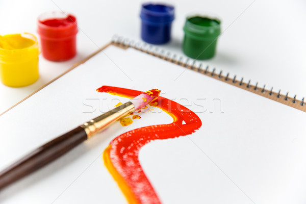 Art album pages, paintbrushes and colorful paints  Stock photo © deandrobot