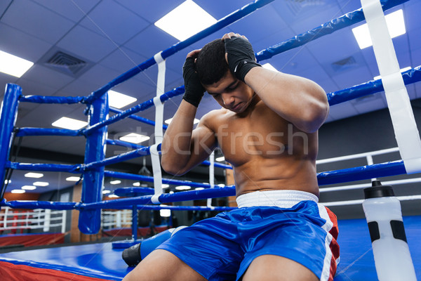 Boxer riposo palestra bello maschio sport Foto d'archivio © deandrobot