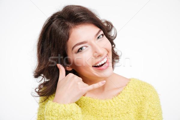 Mutlu kadın jest yalıtılmış Stok fotoğraf © deandrobot