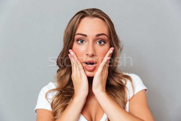Close up portrait of an amazed woman looking at camera Stock photo © deandrobot