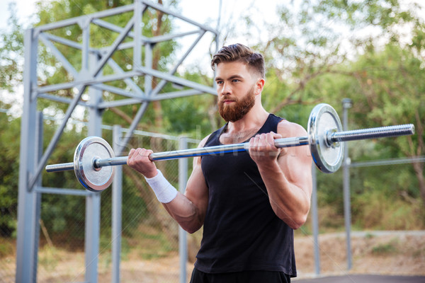 筋肉の フィットネス ハンサムな男 トレーニング バーベル あごひげを生やした ストックフォト © deandrobot