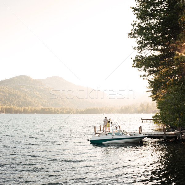 Stok fotoğraf: Güzel · sabah · görmek · göl · dağlar · gökyüzü