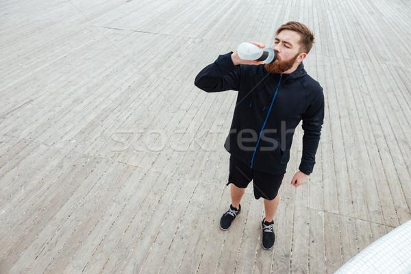 Powyżej portret runner obraz pić Zdjęcia stock © deandrobot