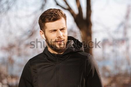 Sakallı adam ayakta orman gözleri kapalı Stok fotoğraf © deandrobot