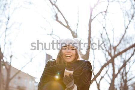 Stockfoto: Gelukkig · jonge · vrouw · lopen · straat · afbeelding