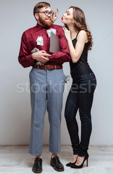 Vertical imagem mulher bonita vara masculino nerd Foto stock © deandrobot