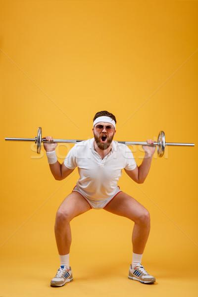 портрет фитнес человека штанга изолированный Сток-фото © deandrobot