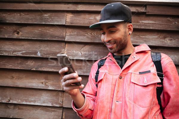 Portrait heureux souriant afro homme Photo stock © deandrobot