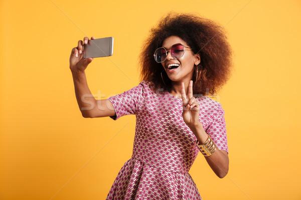 Portre gülen afro amerikan kadın Stok fotoğraf © deandrobot