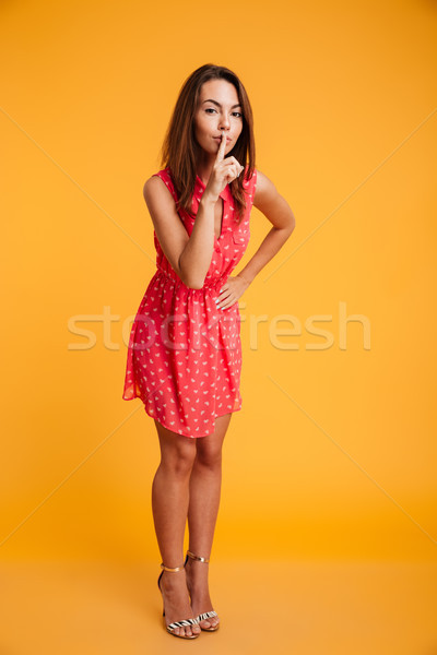Full length image of Mystery brunette woman in dress Stock photo © deandrobot
