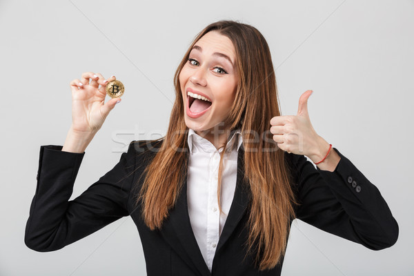 Portrait satisfait femme d'affaires costume Photo stock © deandrobot