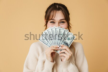 Close up portrait of a young pretty girl Stock photo © deandrobot