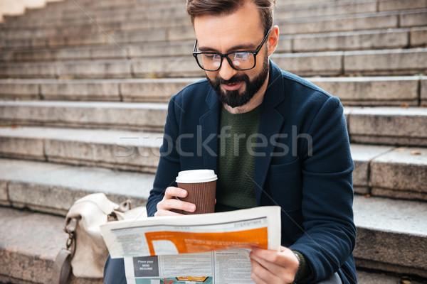 小さな あごひげを生やした 男 座って 屋外 ストックフォト © deandrobot