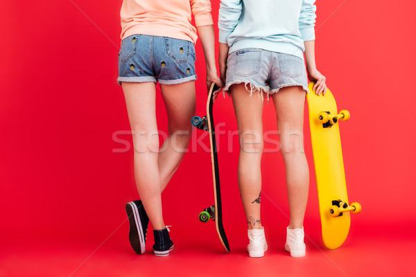 Arkadan görünüm portre iki genç kızlar Stok fotoğraf © deandrobot