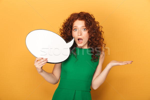 Portrait of a shocked redhead woman in dress Stock photo © deandrobot