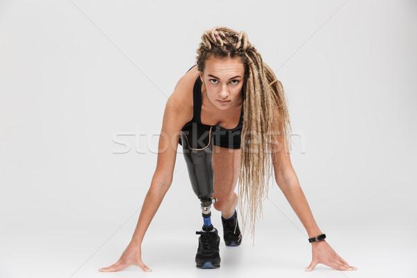 Incroyable saine jeunes handicapées coureur Photo stock © deandrobot