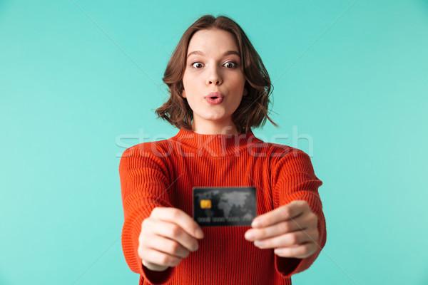 肖像 漂亮 年輕女子 毛線衣 顯示 信用卡 商業照片 © deandrobot