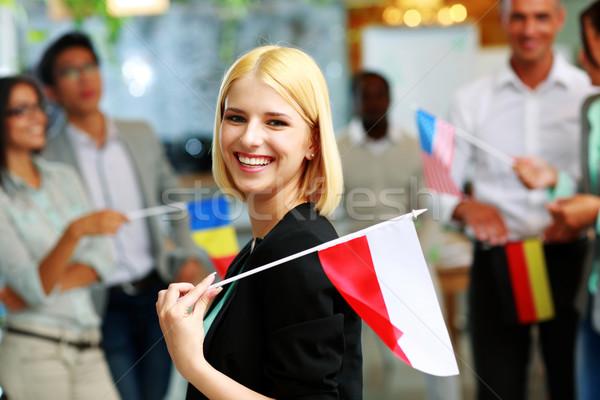 女性実業家 フラグ ポーランド 同僚 ストックフォト © deandrobot