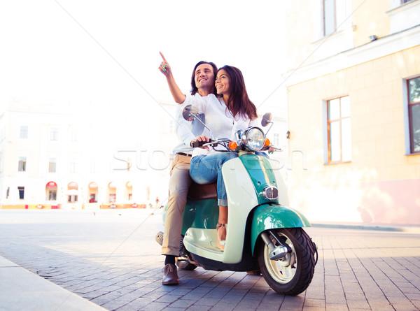 幸せ スクーター 一緒に 女性 ポインティング ストックフォト © deandrobot