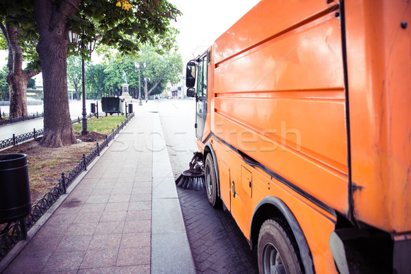 Stock photo: Special sweeper cleans the pavement