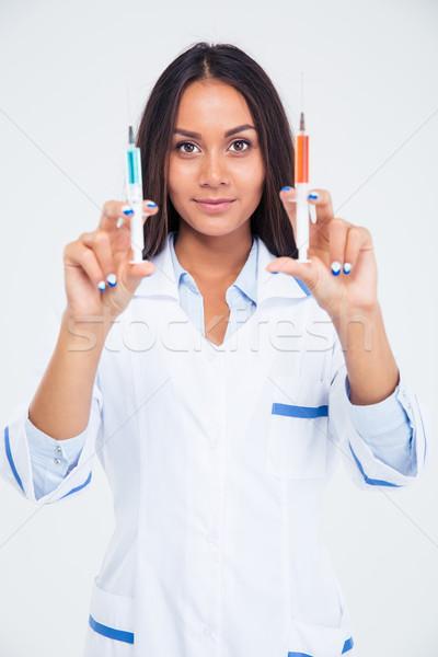 Foto stock: Retrato · belo · feminino · médico · seringa