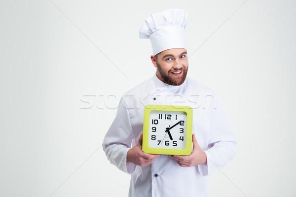 Boldog férfi szakács szakács tart fal Stock fotó © deandrobot