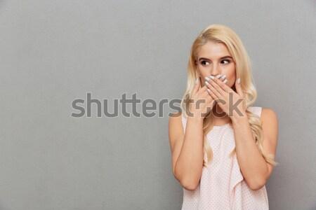 érzéki csinos fiatal női megérint arc Stock fotó © deandrobot
