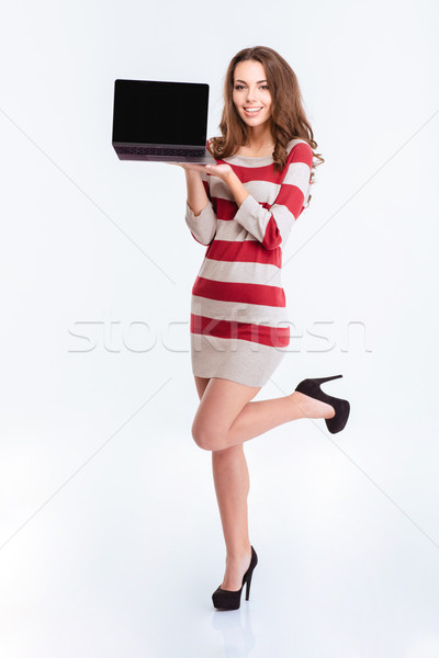 очаровательный женщину портативного компьютера экране Сток-фото © deandrobot
