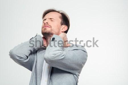 ストックフォト: 肖像 · 小さな · ビジネスマン · 首の痛み · 孤立した · 白