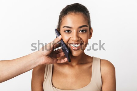 Gelukkig afro amerikaanse vrouw make Stockfoto © deandrobot
