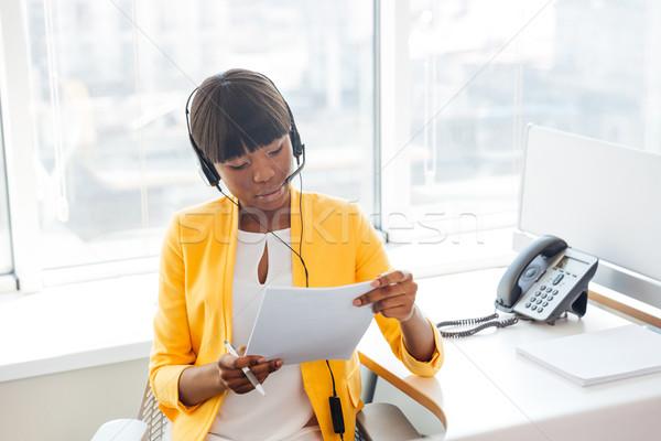 Foto stock: Empresária · trabalhando · call · center · africano · americano · negócio