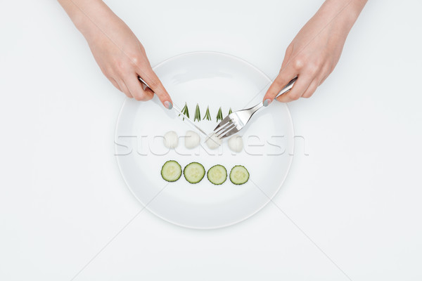 Nő eszik uborka mozzarella gyógynövények tányér Stock fotó © deandrobot