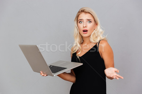 Amazed frustrated woman in black dress holding laptop Stock photo © deandrobot